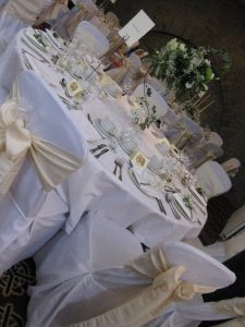 White and champagne coloured bows   Simplicity events   Asian Weddings
