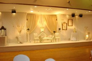 White and gold vintage wedding stage   Simplicity events   Asian Weddings