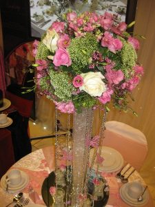 Pink and white rose wedding centerpiece   Simplicity events   Asian Weddings