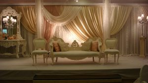 Vintage pink and cream Asian wedding stage   Simplicity events   Asian Weddings