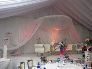 White asian wedding stage with pearls   Simplicity events   Asian Weddings