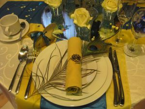Gold, blue and peacock themed wedding decor   Simplicity events   Asian Weddings