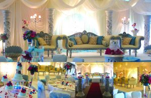 White Asian wedding stage with draping with pink gerberas centrepieces    Simplicity events   Asian Weddings